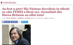Nastase se lauda ca a facut sex cu 2000 de femei
